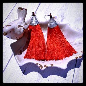 Jewelry - Red Boho Tassel Earrings